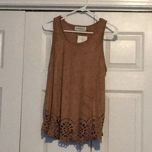 NWT faux suede tan laser cut blouse